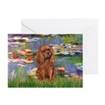 Lilies and Ruby Cavalier Greeting Cards (Pk of 10)