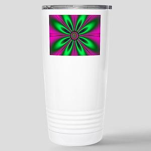 Green Flower on Pink Stainless Steel Travel Mug