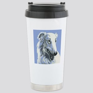 Borzoi Portrait White-Blue Stainless Steel Travel