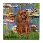 Lilies and Ruby Cavalier Tile Coaster