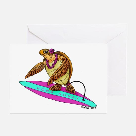 Surfing Turtle Greeting Cards (Pk of 10)
