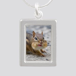 Funny Chipmunk Silver Portrait Necklace
