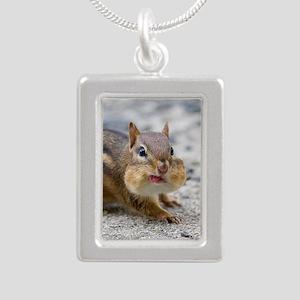 Funny Chipmunk Silver Portrait Necklace