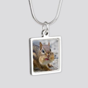 Funny Chipmunk Silver Square Necklace