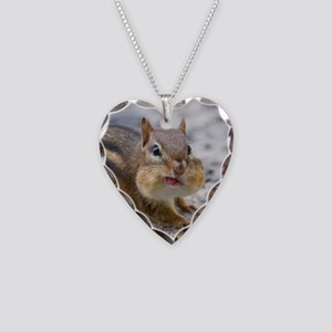 Funny Chipmunk Necklace Heart Charm