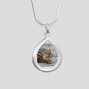 Funny Chipmunk Silver Teardrop Necklace