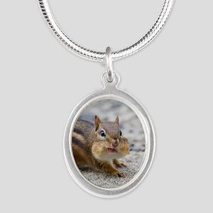 Funny Chipmunk Silver Oval Necklace