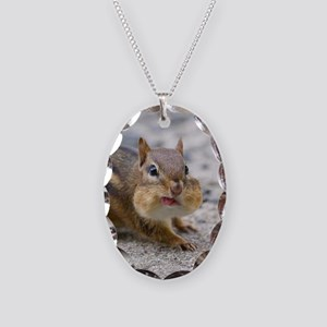 Funny Chipmunk Necklace Oval Charm