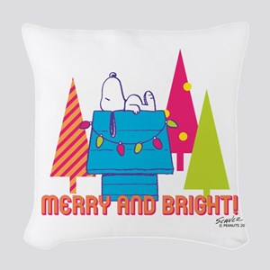 Snoopy: Merry and Bright Woven Throw Pillow