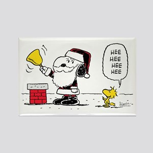Santa Snoopy and Woodstock Rectangle Magnet
