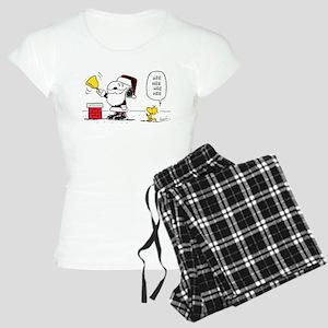 Santa Snoopy and Woodstock Women's Light Pajamas