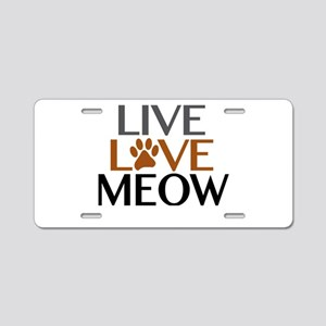 Live Love Meow Cat Lover Aluminum License Plate