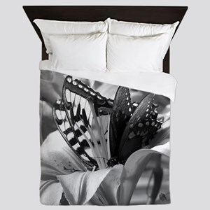 Black and White Butterfly Love Queen Duvet