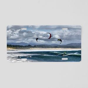 Kitesurfing on beach Aluminum License Plate