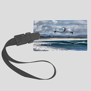 Kitesurfing on beach Large Luggage Tag