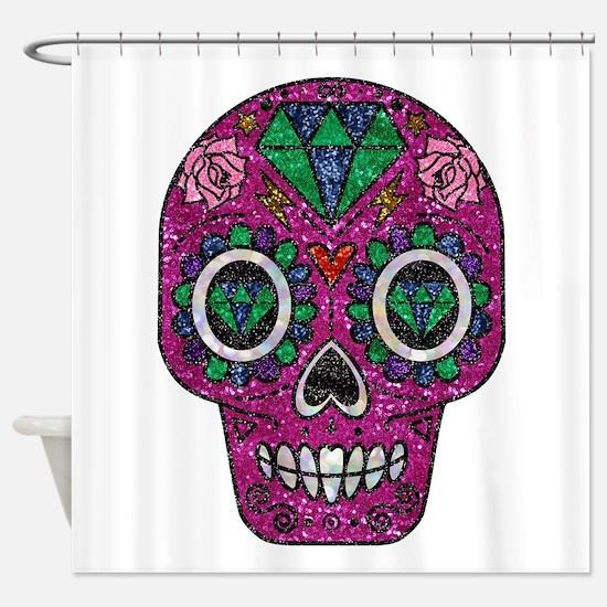 pink glitter sugar skull Shower Curtain