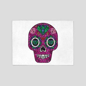 pink glitter sugar skull 5'x7'Area Rug