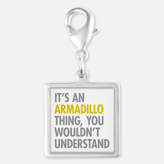 Its An Armadillo Thing Silver Square Charm