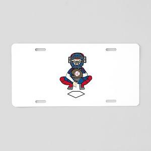 Baseball Catcher Aluminum License Plate