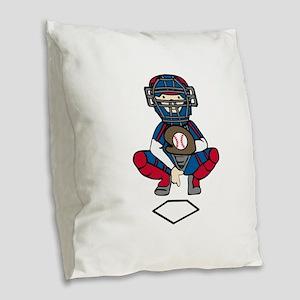 Baseball Catcher Burlap Throw Pillow