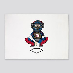 Baseball Catcher 5'x7'Area Rug