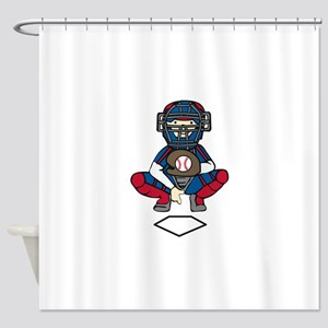 Baseball Catcher Shower Curtain