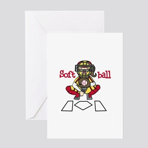 Catch Softball Greeting Cards