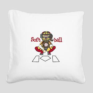 Catch Softball Square Canvas Pillow