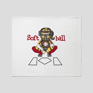 Catch Softball Throw Blanket