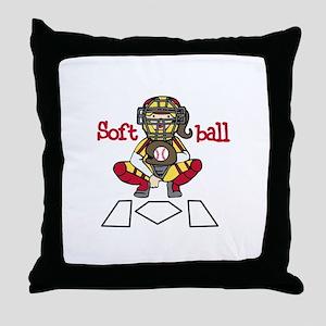 Catch Softball Throw Pillow