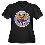 USS MILLER Women's Plus Size V-Neck Dark T-Shirt