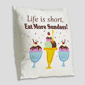 Eat Sundaes Burlap Throw Pillow