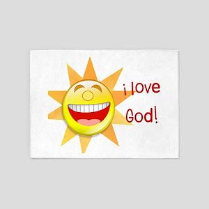 i love God (sun) 5'x7'Area Rug