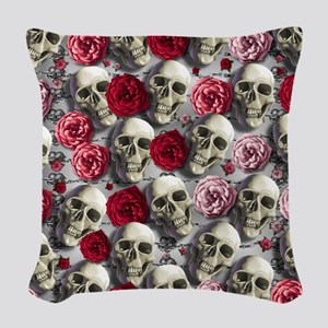 Skulls & Roses Woven Throw Pillow