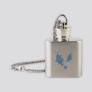 Soccer Dolphins (blue) Flask Necklace