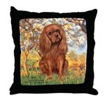 Spring and Ruby Cavalier Throw Pillow