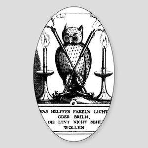 Alchemical Owl Diagram Oval Sticker
