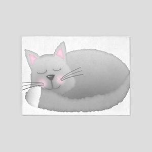 sleeping kitty 5'x7'Area Rug