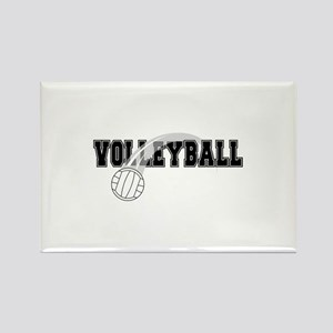 Black Veolleyball Swoosh Rectangle Magnet
