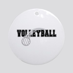Black Veolleyball Swoosh Ornament (Round)
