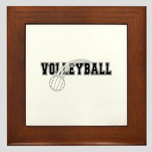Black Veolleyball Swoosh Framed Tile