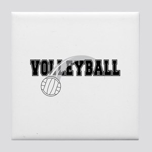Black Veolleyball Swoosh Tile Coaster