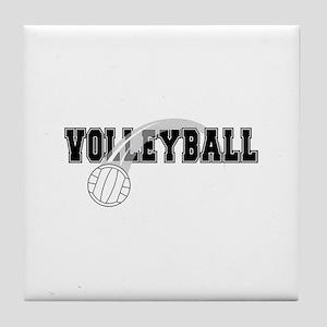 Black Veolleyball Swoosh Tile Coaster