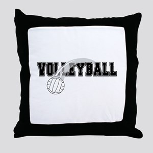 Black Veolleyball Swoosh Throw Pillow