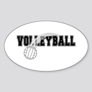 Black Veolleyball Swoosh Oval Sticker