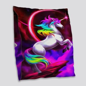 Unicorn Dream Burlap Throw Pillow