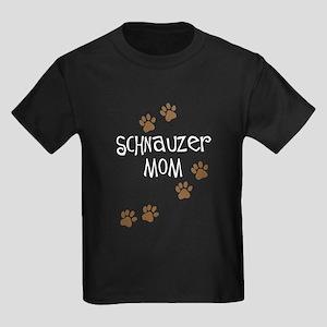 Paw Prints Schnauzer Mom Kids Dark T-Shirt