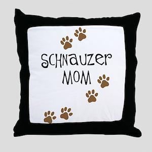 Paw Prints Schnauzer Mom Throw Pillow