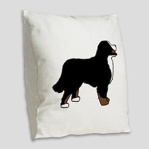 Tri Color Bernese Dog Burlap Throw Pillow