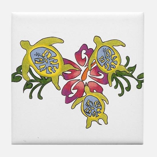 Cute Colorful turtle Tile Coaster